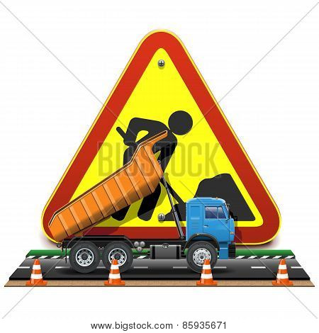 Vector Road Construction Concept With Truck