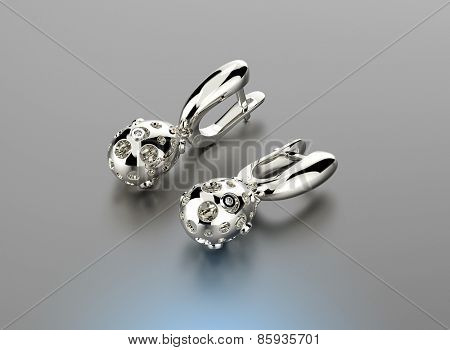 White gold Earring. Jewelry background