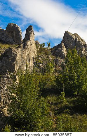 Natural rock formations at Jelasnica gorge at sunny autumn afternoon