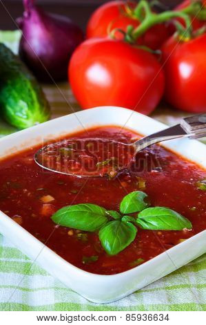 Gazpacho Served With Basil