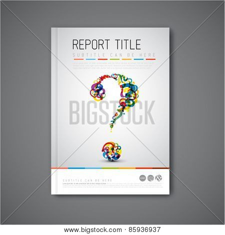 Modern Vector abstract brochure / book / flyer design template with question mark