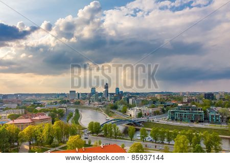 Cityscape of Vilnius, Lithuania. View from the Gediminas' Tower.