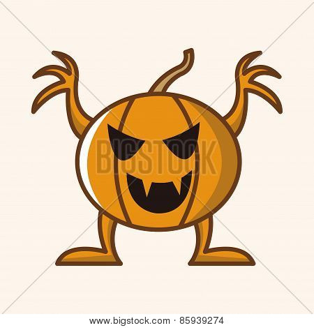 Bizarre Monster Theme Pumpkin Elements Vector,eps