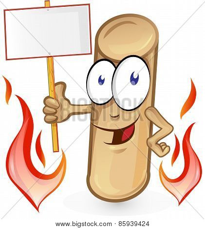 Pellet Cartoon With Signboard  Isolated