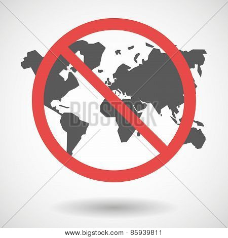 Forbidden Signal With A World Map
