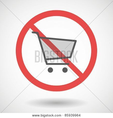 Forbidden Signal With A Shopping Cart