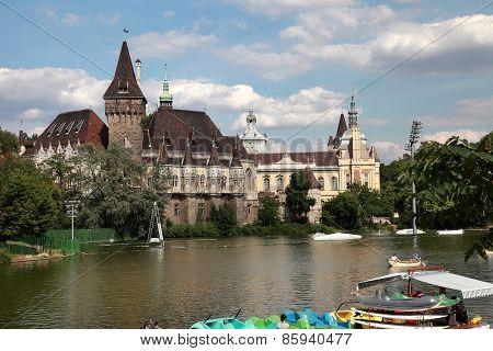 Budapest, Hungary - June 27, 2015: Vajdahunyad Castle View From Lakeside. Budapest, Hungary,  June 2
