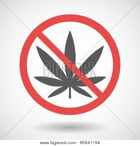 Forbidden Signal With A Marijuana Leaf