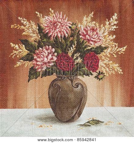Bouquet Of Dahlias Flowers