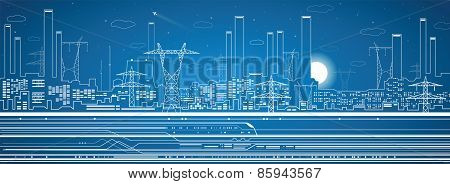 Vector lines power plant, transport and industrial panorama, vector design, infrastructure