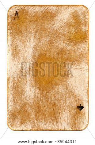 Ancient Rubbed Used  Playing Card Of Ace Paper Background