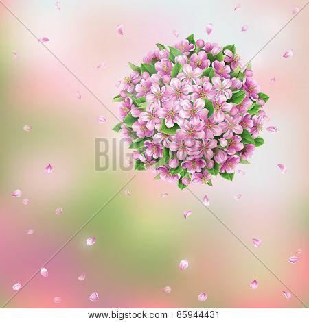 Blooming Ball And Flying Petals