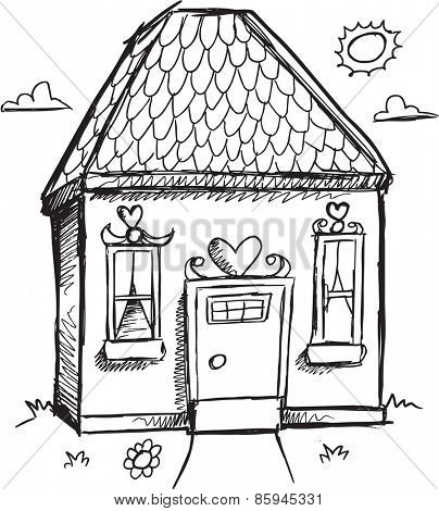 Doodle Sketch House Vector Illustration Art