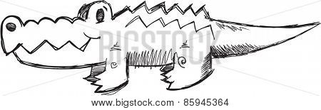 Doodle Sketch Alligator Vector Illustration Art