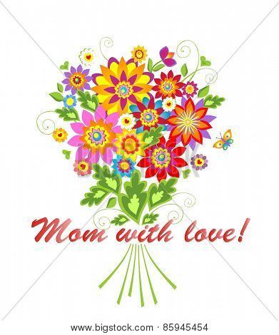 Greeting card with bouquet for Mothers day