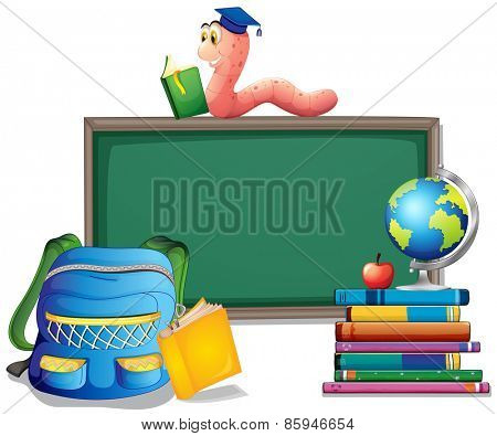 Stack of books with chalkboard background