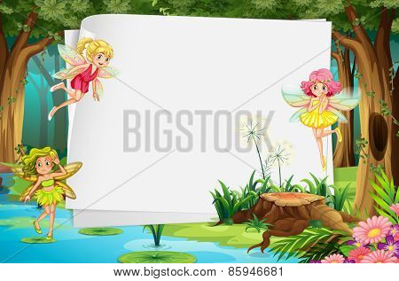 Fairies flying in the forest and a blank sign
