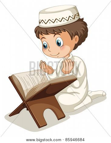 Close up muslim boy praying