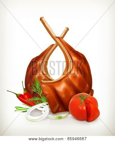 Grilled meat ribs with tomato, onion, dill and chili pepper, vector icon