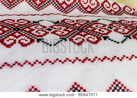 Ukrainian Towel Embroidered With A Cross, From Natural Fabrics And Embroidered  Handmade