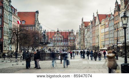 Gdansk, Poland - March 14, 2014: beautiful architecture of the old town of Gdansk, Poland.