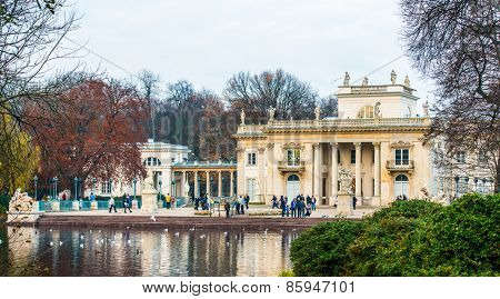 Warsaw, Poland - november 09, 2014: The Lazienki palace in Lazienki Park, Warsaw. Lazienki Krolewskie.
