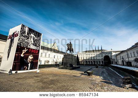 Warsaw, Poland - Fabruary 01, 2015:  Jozef Poniatowski monument in crnter of Warsaw, Poland