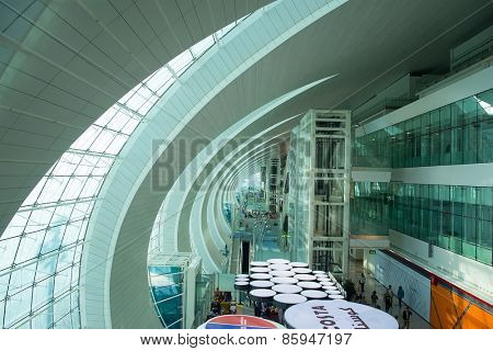DUBAI, UAE - MAY 16: Dubai airport interior. Dubai International Airport is an international airport serving Dubai. It is a major airline hub in the Middle East, and is the main airport of Dubai.