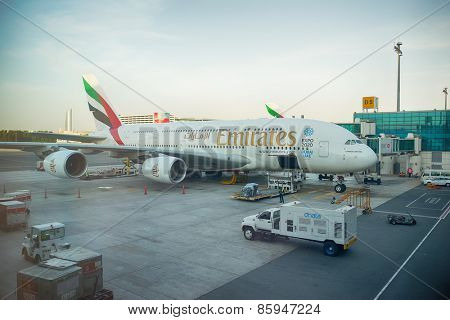 DUBAI, UAE - MAY 16: Airbus A380 docked in Dubai airport. Dubai International Airport is an international airport serving Dubai. It is a major airline hub in the Middle East