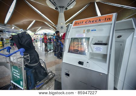 KUALA LUMPUR, MALAYSIA - MAY 12, 2014: KLIA Airport interior. Kuala Lumpur International Airport (KLIA) is Malaysia's main international airport and one of the major airports of South East Asia