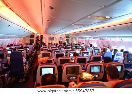 MOSCOW, RUSSIA - APRIL 21, 2014: Aeroflot Boeing-777 interior. OJSC Aeroflot  Russian Airlines is the flag carrier and largest airline of the Russian Federation