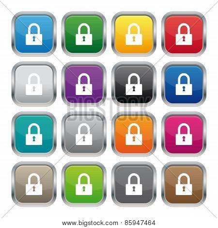 Lock Metallic Square Buttons