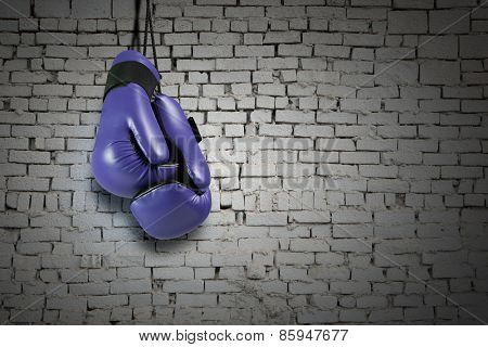 Pair of boxing gloves hanging on all