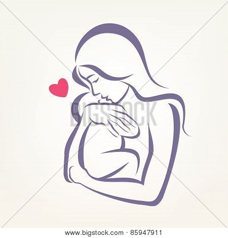 Mom And Baby Stylized Vector Symbol, Outlined Sketch