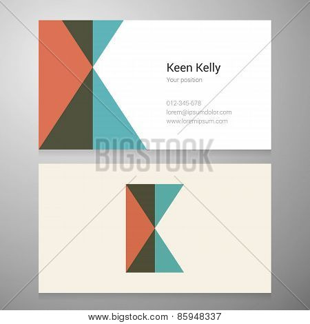 Vintage Letter K Icon Business Card Template