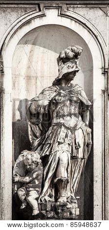 statue of a soldier in  venice