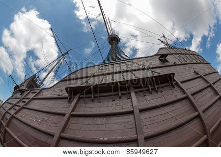 MALACCA, MALAYSIA - CIRCA JANUARY, 2015: The Maritime Museum  it was officially opened to the public by on 13 June 1994. Museum main exhibits the replica ship of Flor de la Mar. Photographed fisheye.