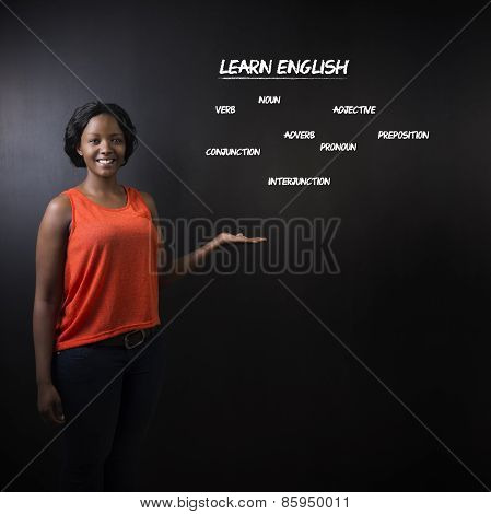 South African Or African American Woman Teacher Or Student Teach Learn English