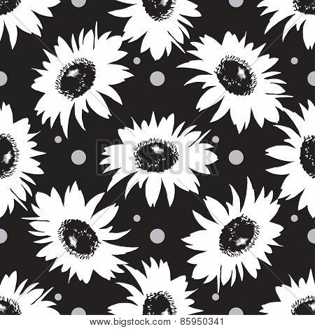 Vector seamless black and white sunflower pattern