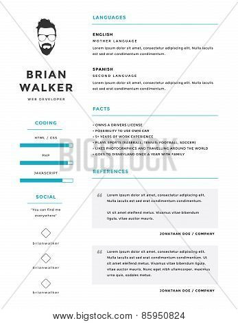 Clean and minimalistic personal vector resume / cv template