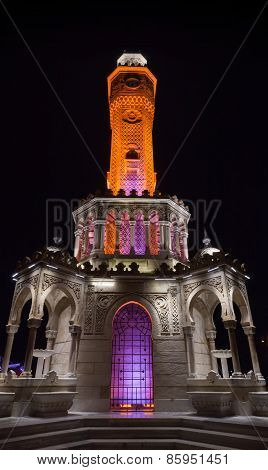 Night View Of Konak Square. Historical Clock Tower