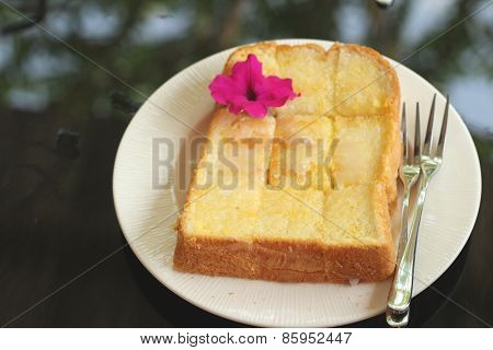 Bread, Butter, Topped  Milk With Tasty.