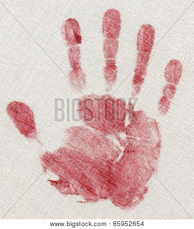 Red Hand Print Isolated On Linen Fabric