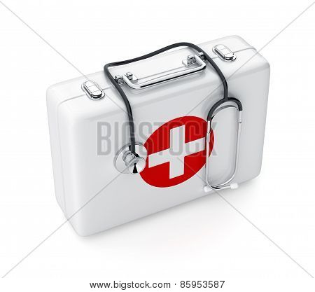 Stethoscope And First Aid Kit Isolated On White Background
