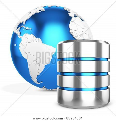 3D Hard Disk And Database With Earth Globe