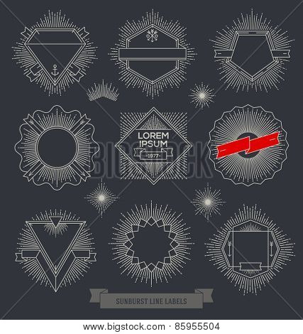 Vector set of line design emblem, sign and hipster labels with sunburst rays