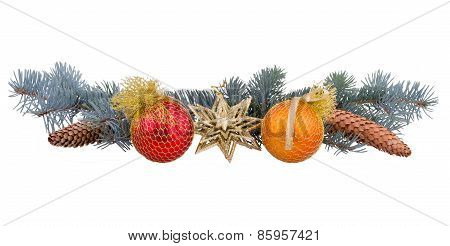 Spruce Branches With Cones And Toys