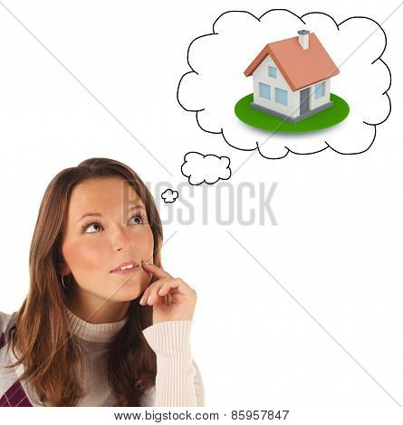 Close-up Portrait Of Girl Dreaming About Own Dwellings (isolated)