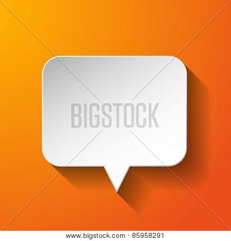 White paper speech bubble on orange background. Vector eps10 illustration