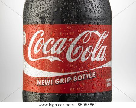 Kuala Lumpur-Malaysia : March 23,2015 Photo of a bottle of Coca-Cola. The brand is one of the most popular soda products in the world and it is sold almost everywhere